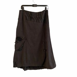 Animale full skirt with ties and buckles